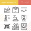 Simple set of steel mill related lineal icons.
