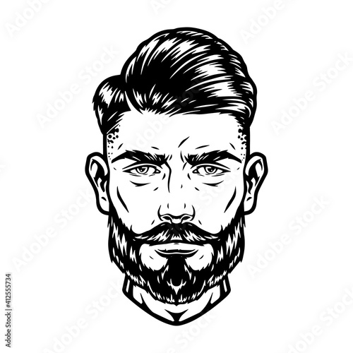 Bearded and mustached handsome man head © DGIM studio