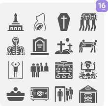 Simple Set Of Burial Related Filled Icons.
