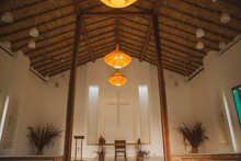 Rustic Small Church Or Chapel Interior With Cozy And Welcoming Light And Decoration In Bahia, Brazil.