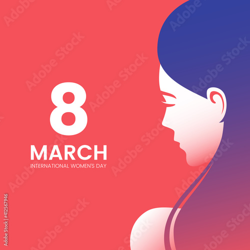 Fototapeta International Women's Day greeting card design with beautiful woman and place for text. Beautiful female face silhouette with long hair. Side view portrait of pretty girl. Vector illustration. obraz