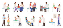 A Set Of Illustrations On The Topic Children With Parents At The Appointment. Kids In The Hospital. The Pediatrician Examines And Analyzes The Health Status Of Patients. Physician Helps Treat People