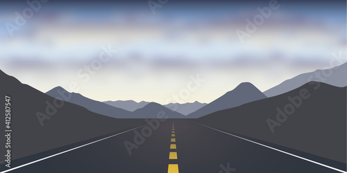 straight asphalt road in the mountains dramatic cloudy landscape vector illustration EPS10
