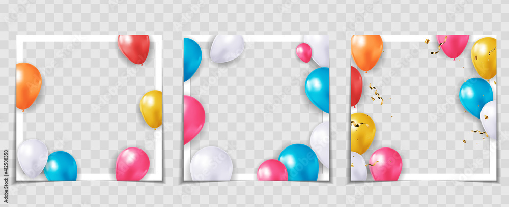 Fototapeta Party Holiday Balloon Photo Frame Template for post in Social Network Collection set. Vector Illustration EPS10