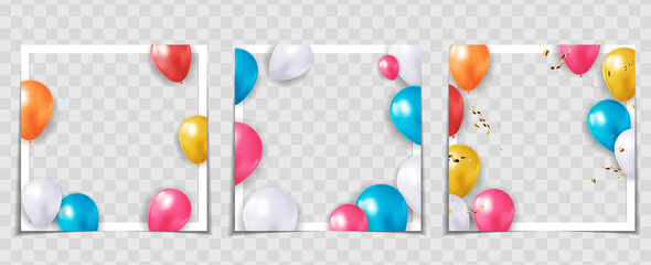Party Holiday Balloon Photo Frame Template for post in Social Network Collection set. Vector Illustration EPS10