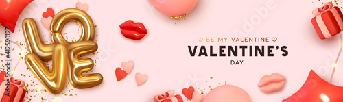 Fototapeta Happy Valentine's Day Romantic creative banner, horizontal header for website