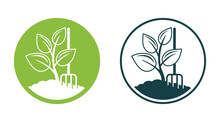 Organic Fertilizer Icon With Ground And Sprout