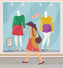 Unhappy Woman Walks Down The Street With A Bag On The Shoulder. Young Girl Goes To Work Past The Window Of Clothing Stores With Mannequins. Tired Female Character In Casual Clothes For A Walk