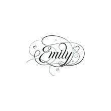 "English Calligraphy ""Emily"" Name, A Unique Hand Drawn Vector Design For Wedding And More."