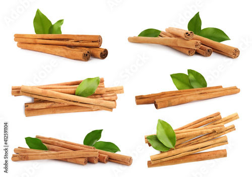 Canvas Set with aromatic cinnamon sticks on white background