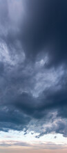 Fantastic Soft Thunderclouds, Vertical Panorama Natural Composition
