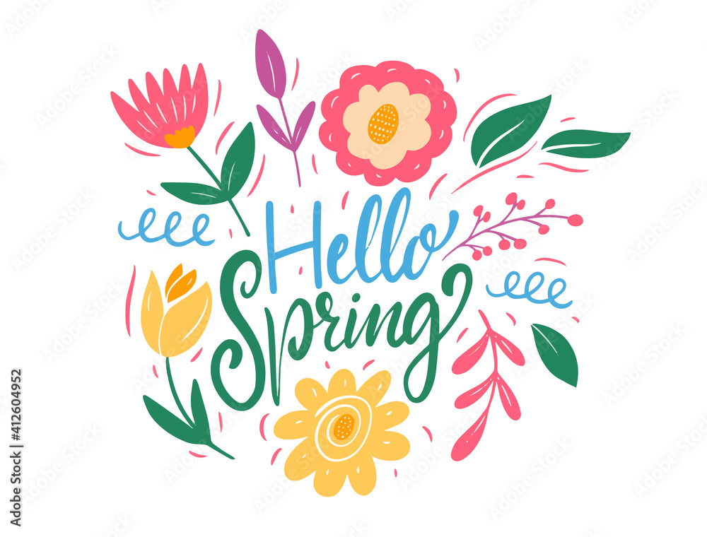 Fototapeta Hello Spring lettering and colorful flowers. Flat style vector illustration.