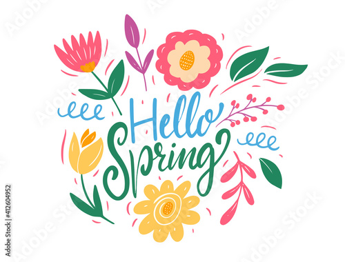 Fototapeta Hello Spring lettering and colorful flowers. Flat style vector illustration. obraz