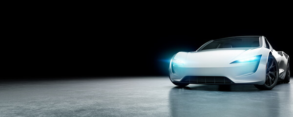 E-Mobility and ecology. Electric sports car with black background. E-car concept. 3D Render.