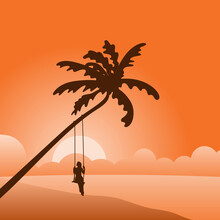 Woman Swinging On A Tropical Beach In Sunset With Orange Gradient Shade Illustration Vector.