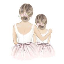 Bride And Flower Girl. Hand Drawn Illustration
