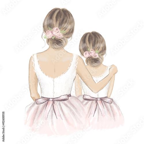 Bride and Flower Girl. Hand drawn illustration © maddyz