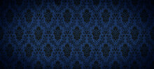Old Retro Antique Vintage Rough Dark Black Blue Wallpaper Texture Background Banner Panorama, With Seamless Pineapple, Flower And Leaf Print Motive