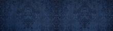 Old Dark Blue Vintage Shabby Damask Floral Flower Patchwork Tiles Stone Concrete Cement Wallwallpaer Texture Background Banner