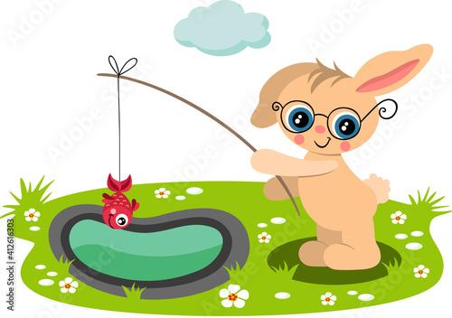 Cute bunny fishing a red fish in garden #412616303
