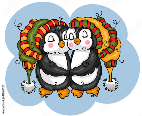 Illustration of funny couple penguins  #412616330