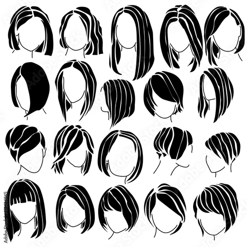 haircut bob silhouette, a set of women's hairstyles for straight and wavy hair o Fotobehang