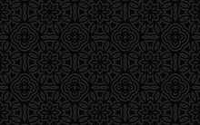 Ethnic Geometric Convex Volumetric Black 3D Background From A Relief Pattern With Stylized Flowers For Presentations, Wallpapers, Textiles.