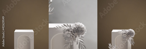 Fototapeta Vintage elegant empty podium scene template for product display presentation with beautiful flower bouquet decoration. 3d realistic vintage style product placement vector illustration obraz