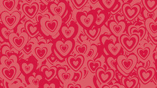 Multicolored Heart Pattern Background. Valentine Wallpaper With Pink And Red Love Hearts.