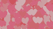 Multicolored Heart Pattern Background. Valentine Wallpaper With Pink, Striped And Polka Dot Love Hearts.