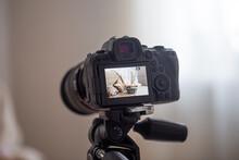 Close Up Of Professional Digital Camera On Tripod.