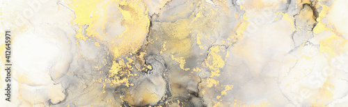 art photography of abstract fluid art painting with alcohol ink, black, gray and gold colors - fototapety na wymiar