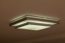 Square Lamp On White Ceiling