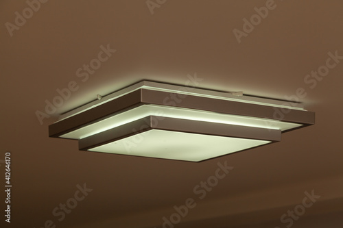 Canvas Square lamp on white ceiling