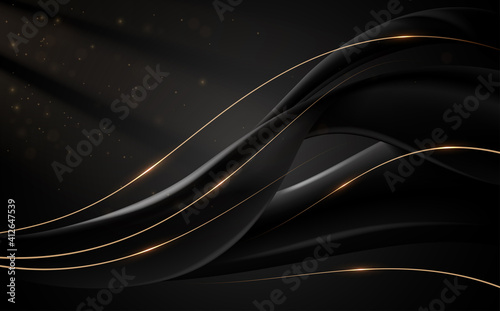 Fototapeta Abstract black and gold lines background with light effect obraz