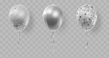 Set Of Three Realistic Ballons, Silver, Transparent With Confetti, Paper Circles And Ribbons. Vector Illustration For Card, Party, Design, Flyer, Poster, Decor, Banner, Web, Advertising.