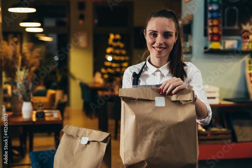 Fototapeta woman holding food in paper bag prepared for delivering obraz