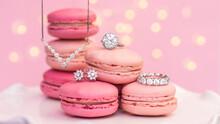 Diamond Jewelry With Pink Macaroons