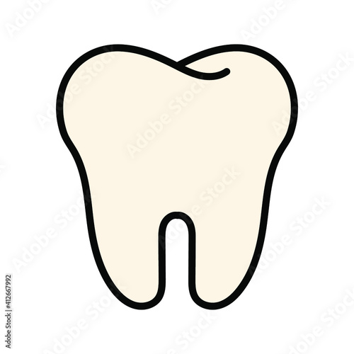 Obraz Collection of tooth icon in flat design. Color editable on white background - fototapety do salonu