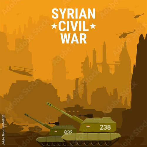 Tela tank still desert attack enemy flat design,village background,vector illustratio