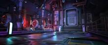 Futuristic City Street With Neon Lights. Night Scene. Urban Landscape. Cyberpunk Wallpaper. Industrial Zone In A City Of A Future. Photorealistic 3d Illustration.