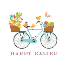 Cute Easter Chickens On Bicycle With Gifts Vector