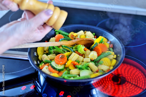 Fototapeta Vegetables in a pan.	 obraz