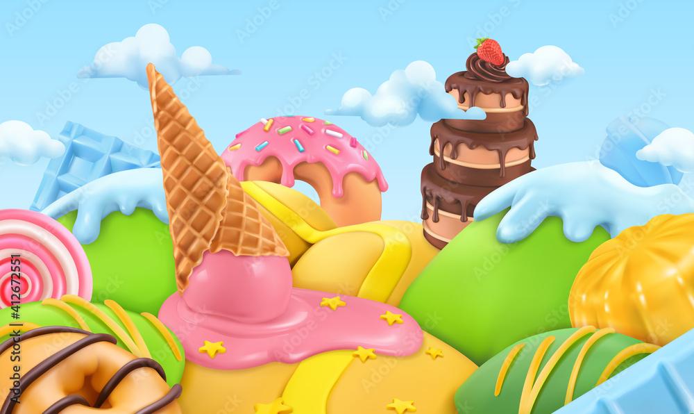 Fototapeta Sweet candy landscape. 3d cartoon vector background