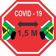 canvas print picture - Covid 19 billboard 1.5 meter social distance with heads in South africa flag colors