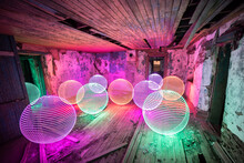 Long Exposure, Light Painted Orbs In Abandoned Building