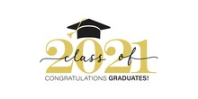 Gold Design For Graduation Ceremony. Class Of 2021. Congratulations Graduates Typography Design Template For Shirt, Stamp, Logo, Card, Invitation Etc. Vector Illustration