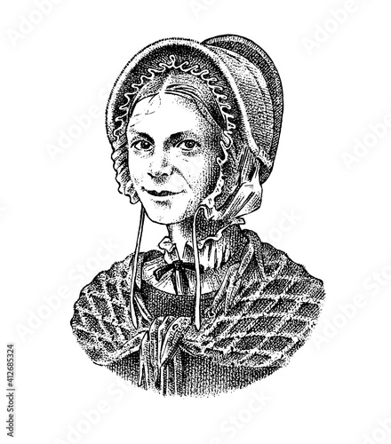 Fototapeta Old woman in a vintage suit. A poor peasant in a hat and a scarf. Victorian era character, antique style. Engraved sketch  obraz