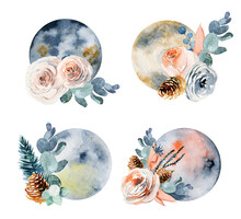 Set Of Watercolor Full Moon In Vintage Flower (pink And White Roses, Eucalyptus Branches And Fir Cones) Decorations, Vintage Floral Compositions Isolated On White Background
