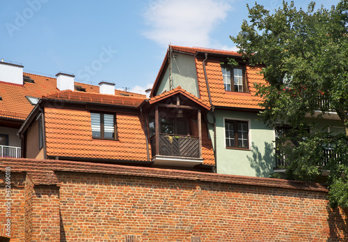 Houses at Philadelphia boulevard in Torun. Poland Fotobehang